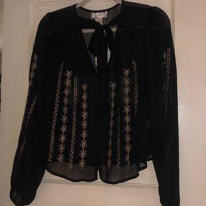 Band Of Gypsies NWT • Sheer Embellished Tie Blouse